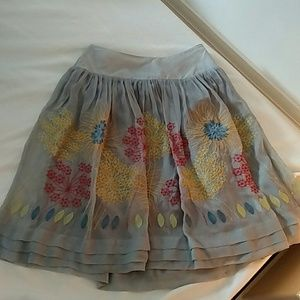 Anthropologie Blue Tassel XS Embroidered Skirt